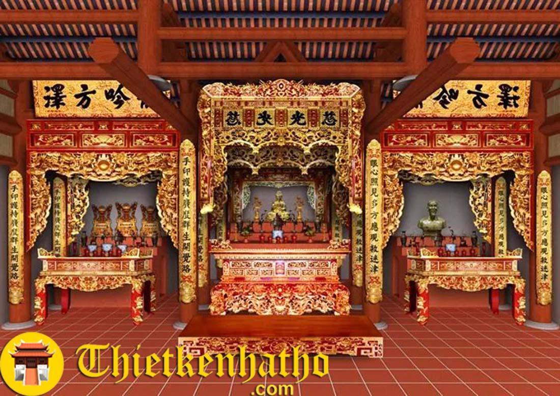 Một số mẫu đầy đủ bộ 3 ban thờ hoành phi câu đối tượng....