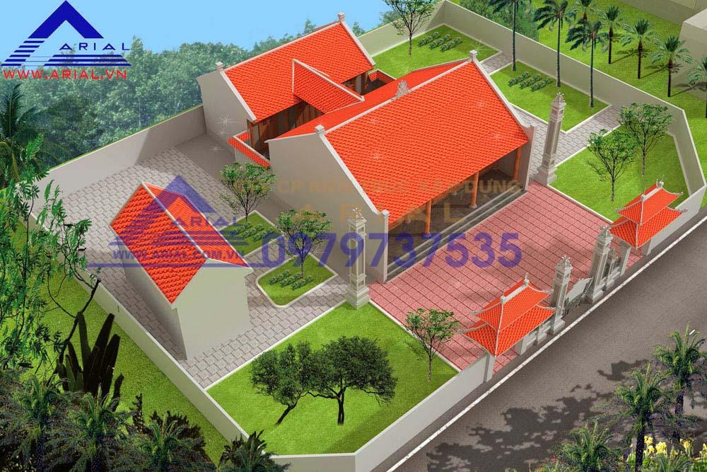 Mẫu số 1: Nhà thờ 2 khối hình chữ công nhà thờ họ Vũ ở Vụ Bản – Nam Định