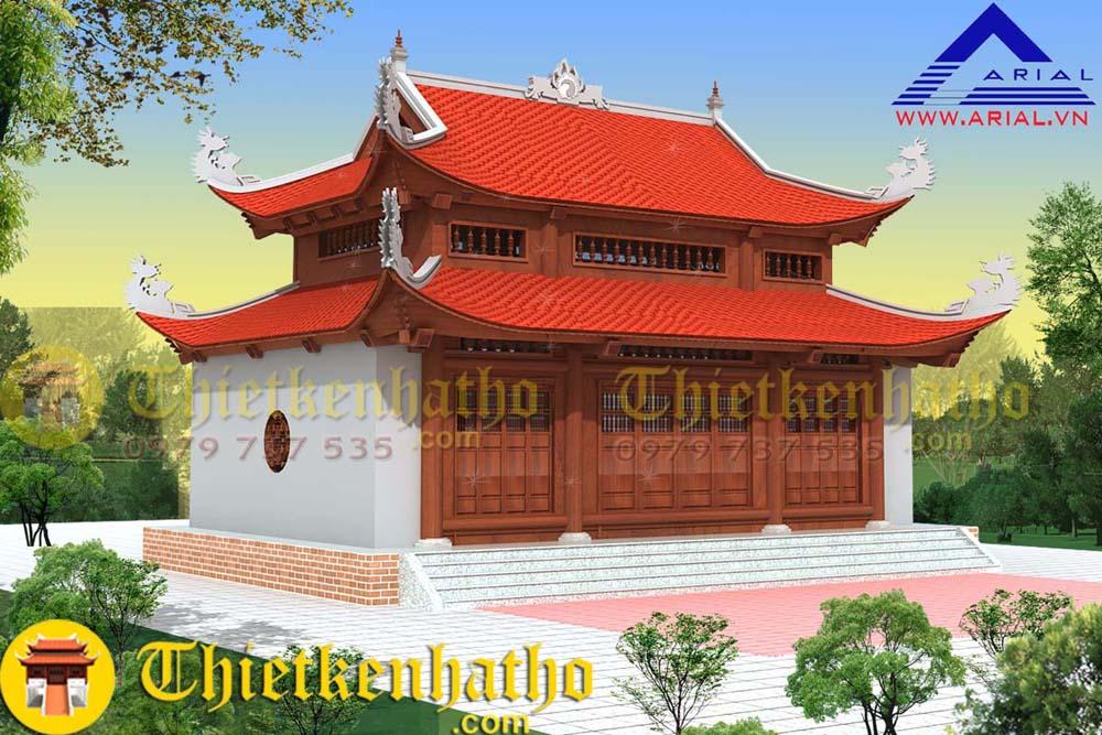Nhà thờ gỗ 8 mái 3 gian , 2 bên có 2 dĩ, gạch xây trát
