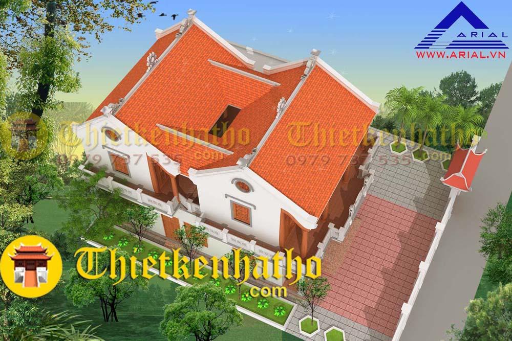 Nhà thờ 2 tầng 2 khối nhà Tiền Tế và Hậu cung, mái chữ Quốc, kiến trúc dân gian cđt a Quân - Quảng Ninh