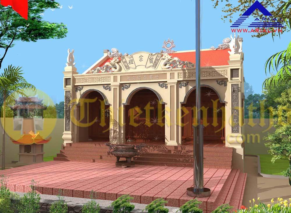 5. Nhà từ đường kiểu cổ có hiên tây phía trước sau có hậu cung cđt anh Hà ở Nam Định