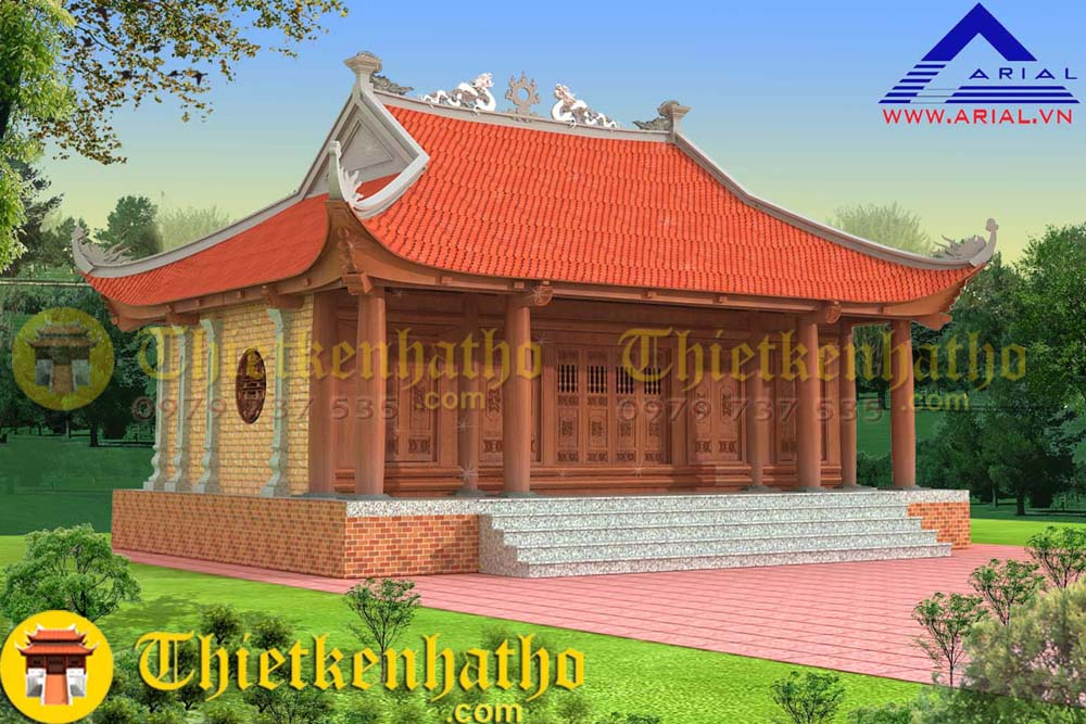 4. Nhà thờ gỗ 4 mái tường xây gạch không trát