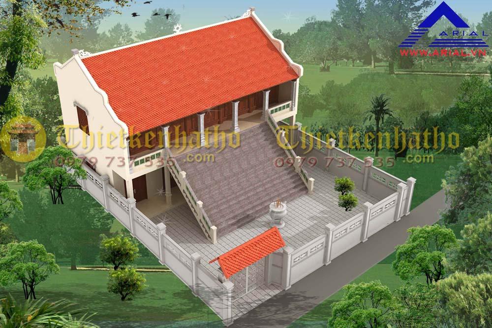 9. Nhà thờ 5 gian 2 mái 2 tầng ở Thái Bình