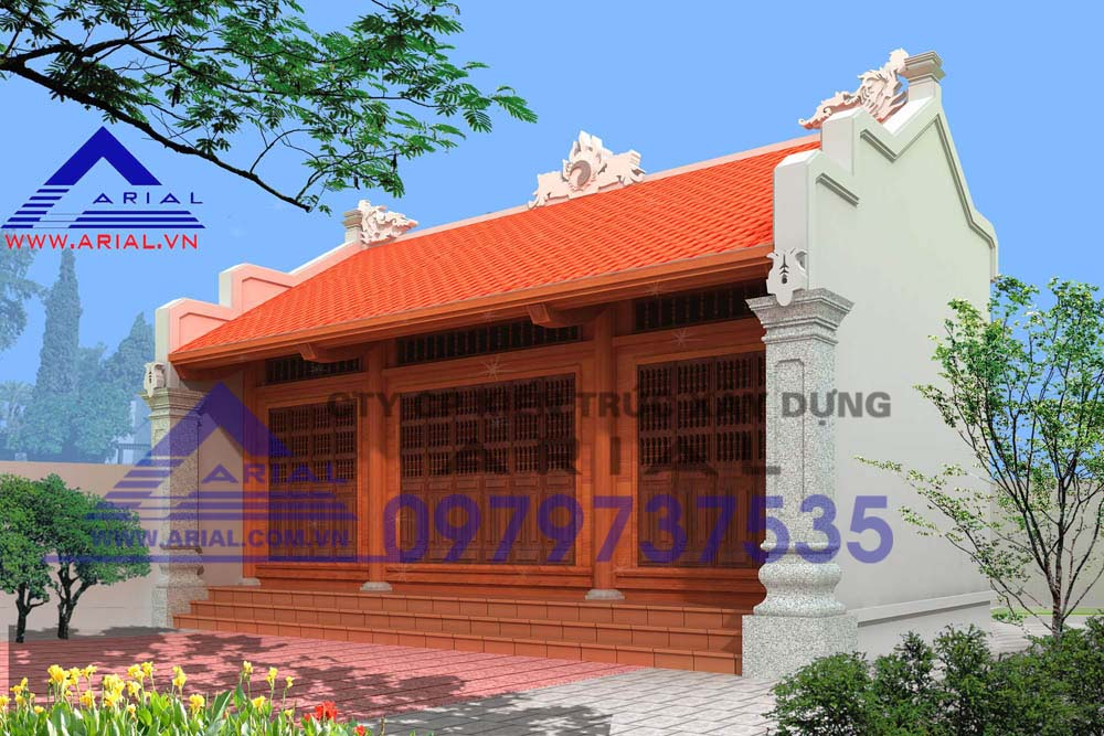 Mẫu số 10: Nhà thờ dt nhỏ 2 mái 3 gian không có cột hiên ở Nam Định