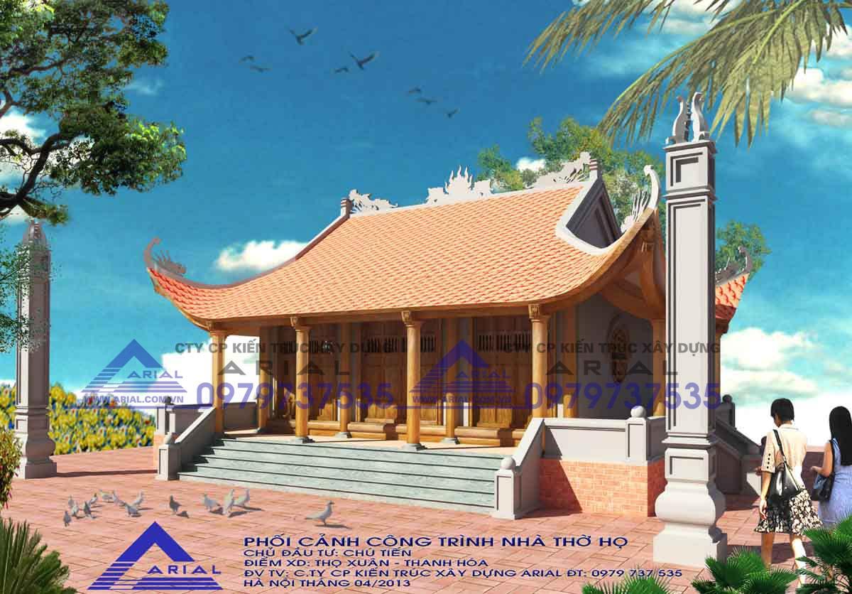 Mẫu số 14: Nhà thờ 4 mái 3 gian 3 hành lang Cđt chú Tiến ở Thọ Xuân Thanh Hóa