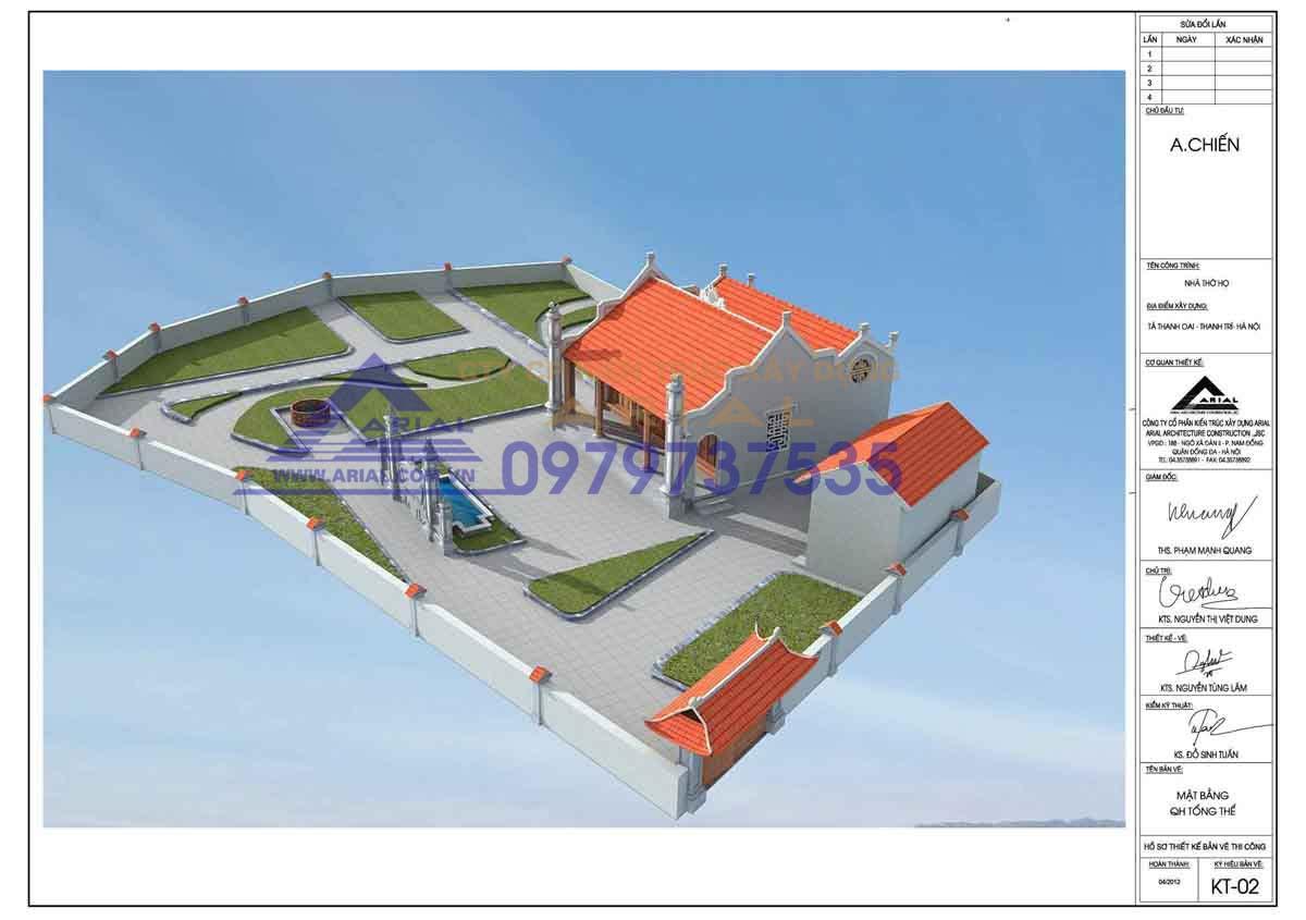 Mẫu số 2: Nhà thờ 2 mái 2 cung chữ Nhị cdt a Chiến ở Tả Thanh Oai Hà Nội
