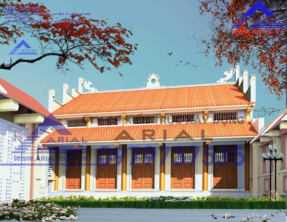 Mẫu số 4: Nhà thờ 5 gian 2 mái Mái trước chồng diêm cổ đẳng cdt a Tiếu ở Minh Khai Hà Nội