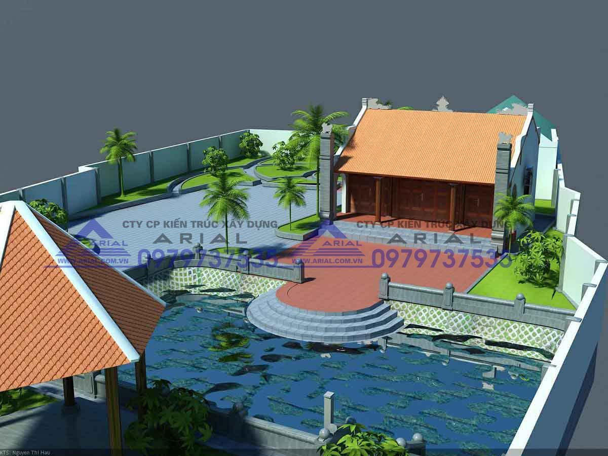 Mẫu số 8: Nhà thờ 2 mái 3 gian 2 cột đồng trụ cđt chú Trâm Kinh Môn Hải Dương