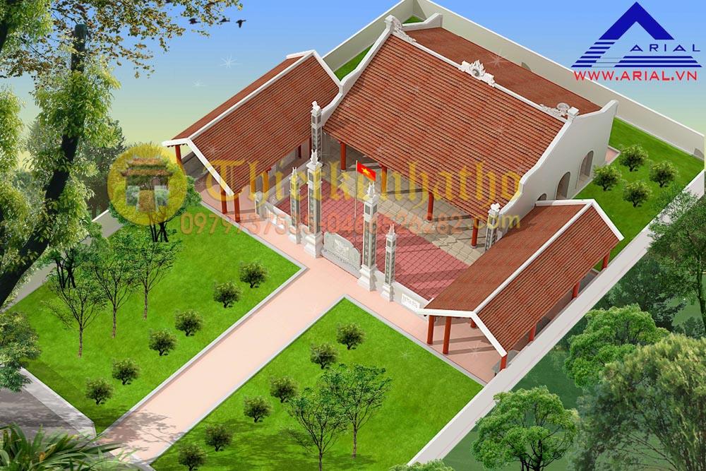 Mẫu số 43: Nhà thờ 2 mái 3 gian có Tả vu Hữu vu 2 bên trước cdt chú Trình , Hà Tĩnh