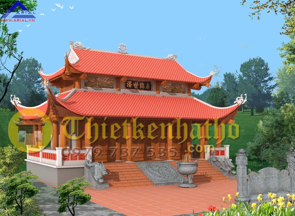 Mẫu số 46: Nhà thờ 3 gian 3 hiên trước và hai bên 8 mái đao ở Nga Sơn Thanh Hóa