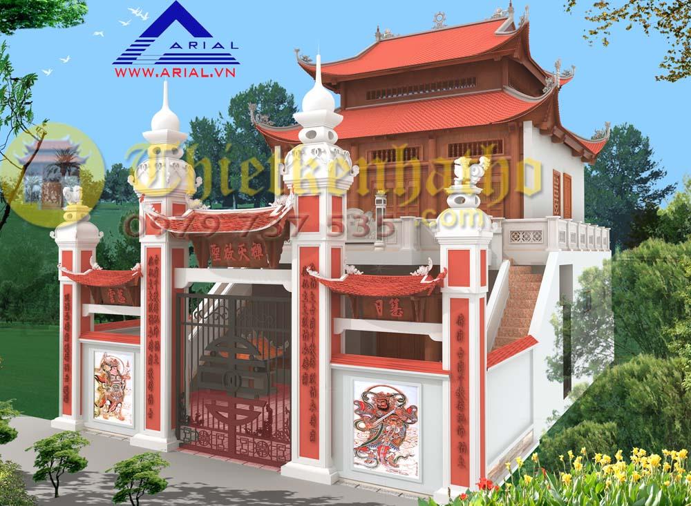 Mẫu số 57: Nhà thờ 2 tầng thang lên 2 bên Nhà thờ 3 gian 8 mái đao ở Quỳnh Đô Hà Nội