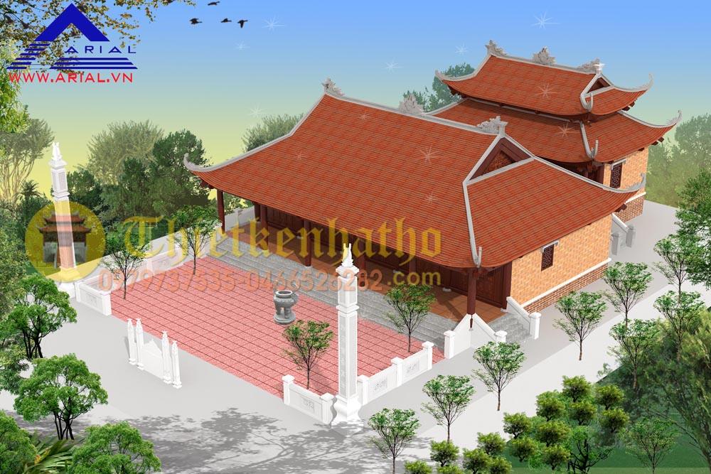 Mẫu số 40: Nhà thờ 2 cung cung trước 5 gian 4 mái cung sau 3 gian 8 mái 2 cung liền nhau ở Lạng Sơn