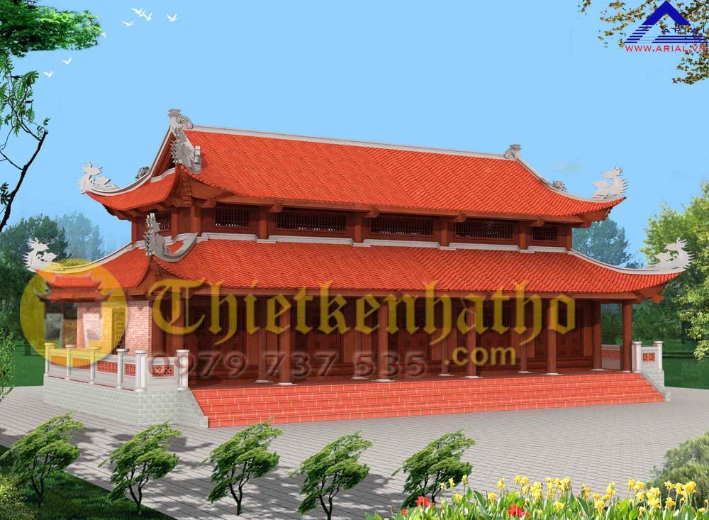 Mẫu số 47: Nhà thờ 5 gian 3 hiên trước và hai bên 8 mái đao chồng diêm ở Phú Xuyên Hà Nội