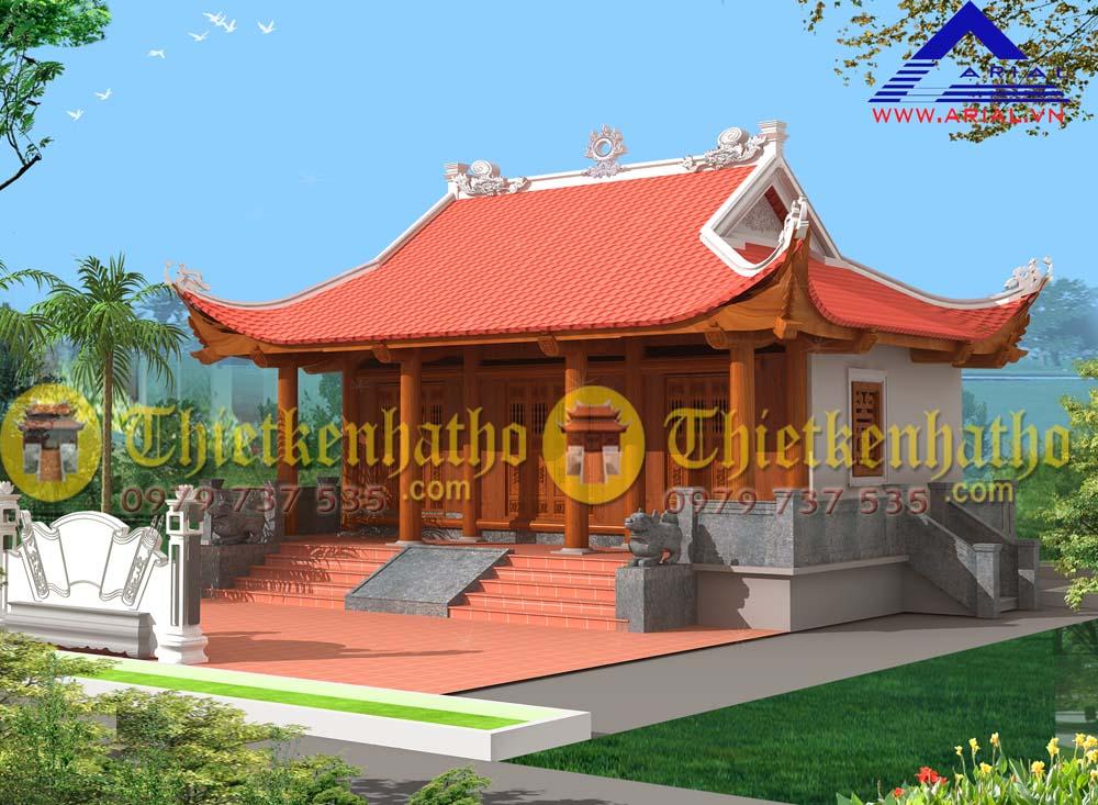 Mẫu số 52: Nhà thờ 3 gian 4 mái 3 hiên có Hậu cung chữ Đinh ở Ứng Hòa Hà Nội