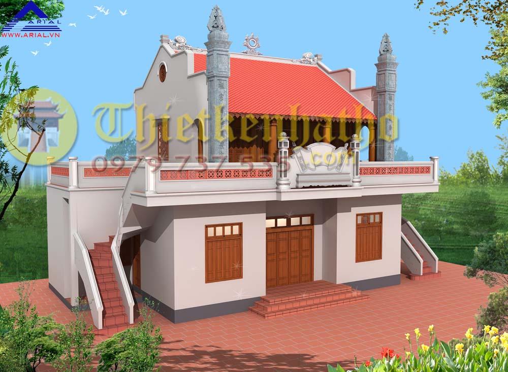 Mẫu số 55: Nhà thờ 2 tầng 2 thang lên 2 bên nhà thờ 2 mái có sân mái ở 2 bên ở Ích Vịnh Hà Nội