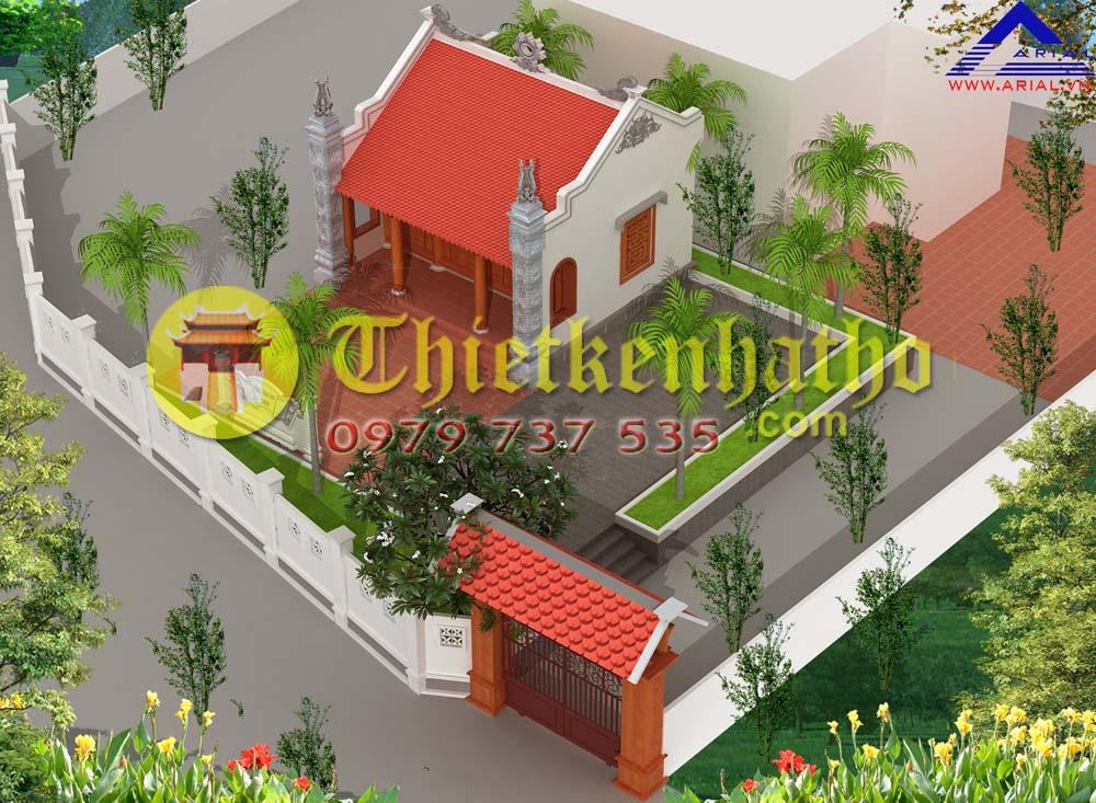 11. Nhà thờ 3 gian 2 mái có cột hiên có cột đồng trụ cdt a Hòa ở Yên Mỹ Thanh Trì Hà Nội
