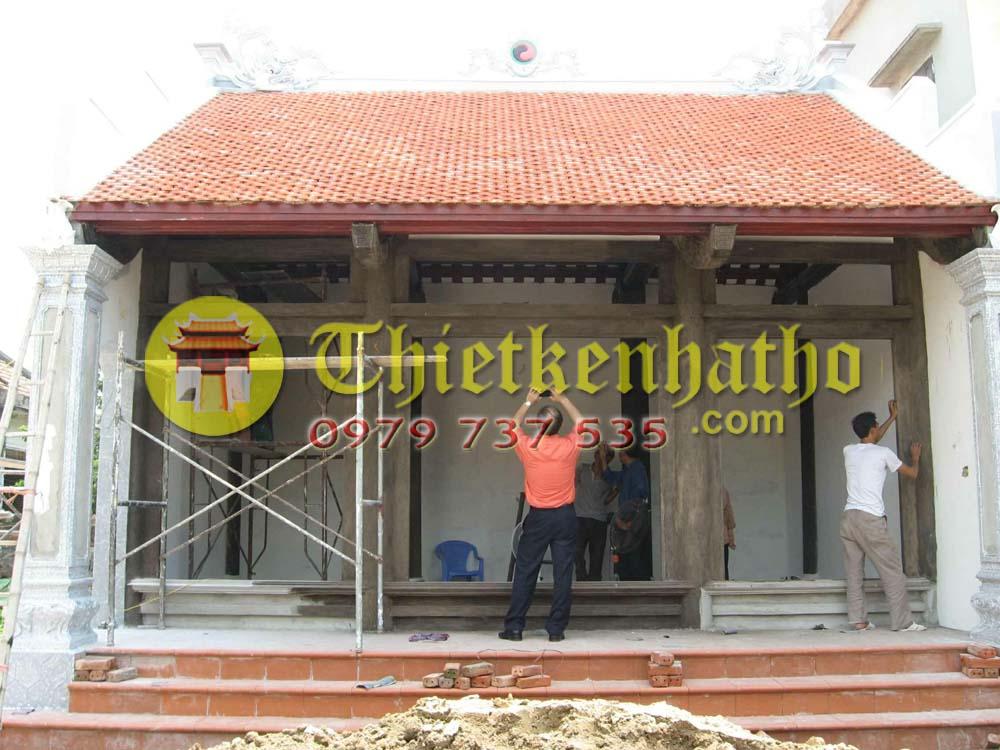 10. Nhà thờ 3 gian không có cột hiên Cột đồng trụ thấp ở Nam Định