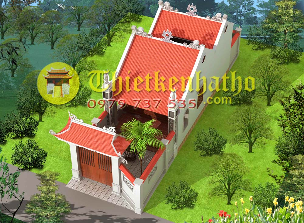 12. Nhà thờ mặt tiền 5m có 2 cung 2 mái sân trước sau và sân trong ở Thanh Liêm Hà Nam