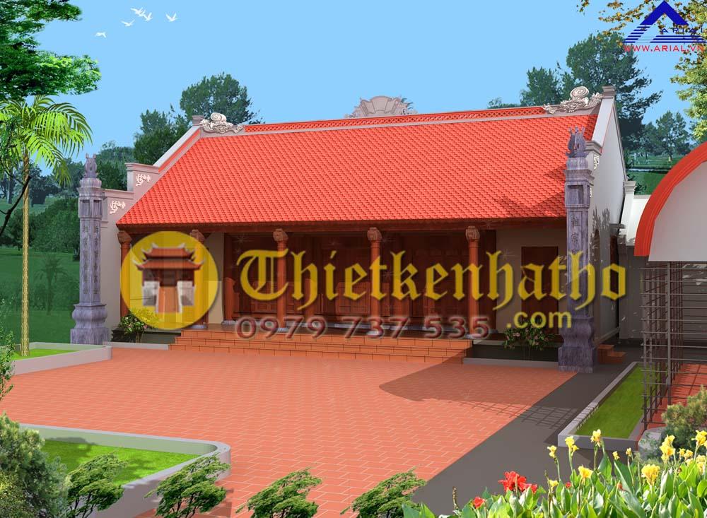 10. Nhà thờ 5 gian 2 mái hiên thông 2 cột đồng trụ ở Xuân Giang Sóc Sơn Hà Nội