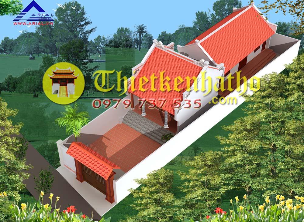 12. Nhà thờ 2 mái có nhà ở phía sau ở Bắc Giang