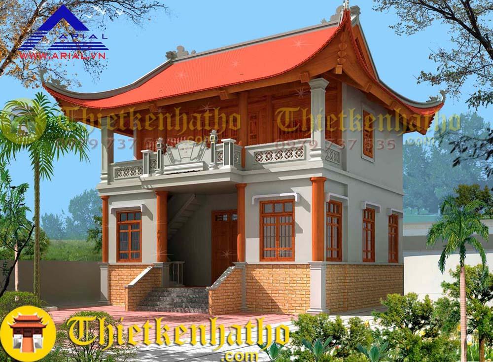 9. Nhà thờ 2 tầng 4 mái cđt anh Tân ở Thái Bình